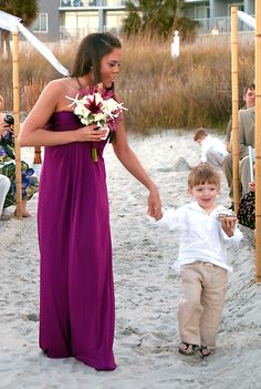 Beach wedding, Maid of honor, ring bearer (shell as pillow)