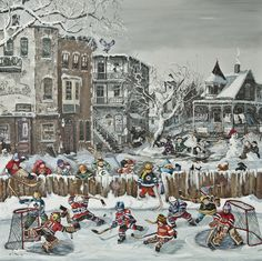 A fantastic game  www.paulinepaquin.com Hockey Season, Job 1, Christmas Scenes, Objet D'art, Childhood Memories, Illustration Art, Illustrations, Art Nouveau, Jigsaw Puzzles