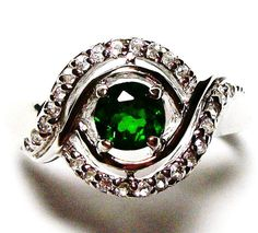 Chrome diopside ring s 8  Green Light by Michaelangelas on Etsy, $69.50                                             LOOKS LIKE A GREEN EYE