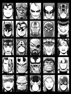(Superman, Hellboy, The Joker, Wolverine, Hawkeye, Batman, Green Lantern, Iron Man, Spider-Man, The Penguin, Catwoman, Captain America, Nick Fury, Loki, Wonder Woman, Two Face, Thanos, Venom, The Incredible Hulk, Thor, Black Widow, Darkseid, Bane, Black Canary, and The Flash.  From Tumbler with a black frame.