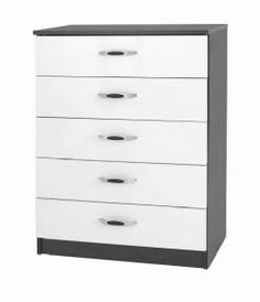 One Call Furniture Piano 5 Drawer Chest in Matt Black with White Gloss Bedroom Drawers, Dresser Drawers, Midi Piano, Bedroom Furniture Uk, Modern Chest Of Drawers, Drawer Storage Unit, Dressers For Sale, 5 Drawer Chest, Have A Good Night
