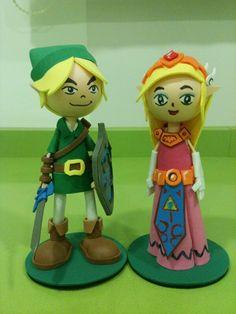 Link and Zelda foam rubber figures by anapeig.deviantart.com on @deviantART
