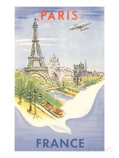 Airplane Flying over Paris, France Lámina