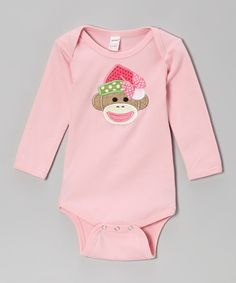 Love this Pink Sock Monkey Santa Bodysuit - Infant by Holiday by Petunia Petals on #zulily! #zulilyfinds