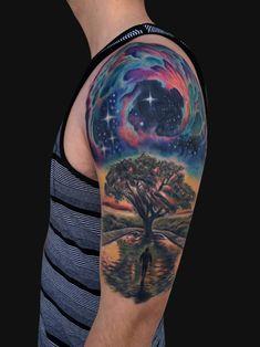 45 Galaxy Tattoos für aus der Welt Erfahrung #erfahrung #galaxy #tattoos Oak Tree Tattoo, Planet Tattoos, Tattoos With Meaning, Tree Tattoo Meaning, Nature Tattoos, Space Tattoos, Cool Tattoos, Amazing Tattoos, Tattoo Parlors