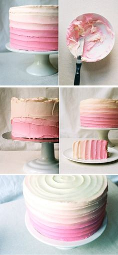 Came across this icing technique last night, I have never seen a cake iced like this before. Isn't it just too pretty? I got the recipe, photos and instr