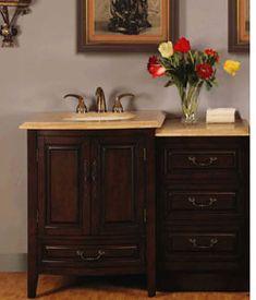 "46.5"" Perfecta PA-5930 Bathroom Vanity Single Sink Cabinet (Dark Walnut Finish)"