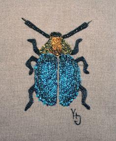 Free machine embroidery: a fat bug