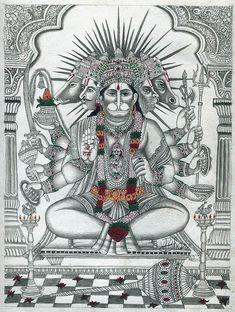 Five Headed Hanuman, Hindu Watercolor on OldPaperArtist: Vinod Bhardwaj Hanuman Pics, Hanuman Chalisa, Hanuman Images, Shri Ram Wallpaper, Hanuman Ji Wallpapers, Hindu Statues, Mandala Art Lesson, Indian Folk Art, Madhubani Painting