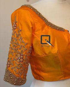 Pattu Saree Blouse Designs, Fancy Blouse Designs, Bridal Blouse Designs, Saree Embroidery Design, Hand Embroidery, Hand Work Blouse Design, Designer Blouse Patterns, Blouse Models, Kanchipuram Saree