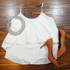 WHITE RUFFLE CAMI WORN A FEW TIME NO TRADE ‼️PRICE FIRM‼️ ‼️Small lipgloss stain on inside of the top‼️ Paper Crane Tops