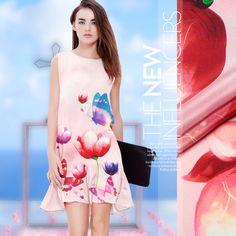 114*140cm 12mm floral print sweet pink silk crepe de chine fabric for dress shirt clothes pants D107