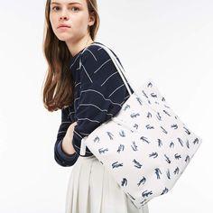 ac31fbda689c LACOSTE Women's L.12.12 Concept Croc Print Large Zip Tote Bag - Check it out