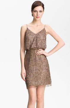Adrianna Papell Spaghetti Strap Sequin Mesh Dress available at #Nordstrom $198