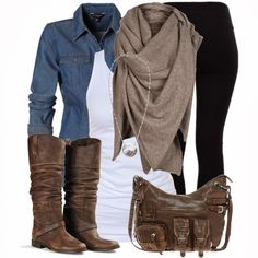 white tee, denim jacket, black pants, brown boots and scarf
