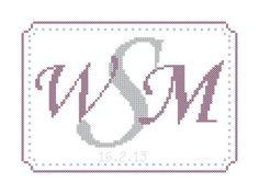 Modern monogram cross stitch pattern/custom monogram/cross