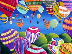 Hot Air Balloon Festival Series 3 COLORFUL FUN Whimsical Folk Art Canvas Painting.