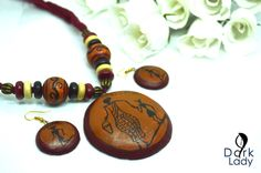 Terracotta Funky Jewelry, Clay Jewelry, Handmade Jewelry, Teracotta Jewellery, Terracotta Jewellery Designs, Beaded Necklace Patterns, Thread Jewellery, Washer Necklace, Polymer Clay