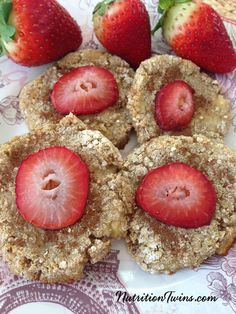 Strawberry Banana Breakfast Cookies | Only 75 Calories | Healthy cookie for breakfast | Energy boosting & delicious way to start your day | For MORE RECIPES please SIGN UP for our FREE NEWSLETTER www.NutritionTwins.com