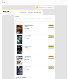 Email from Amazon featuring 3 of my books!