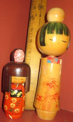 Pair Vintage Wooden Kokeshi Dolls by Jenzart on Etsy