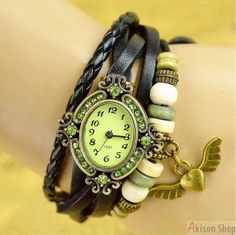 Specials Only  $2.99/pcs Handmade Vintage Style Leather Band Watches Lady Woman Wrist Watch with Heart Wings, Leather Watch Bracelets S011· Wrist Watch · Buy Link: https://www.akisonshop.com/watch/vintage-leather-bracelet-quartz-wrist-watch-heart-wings-style-S011.html