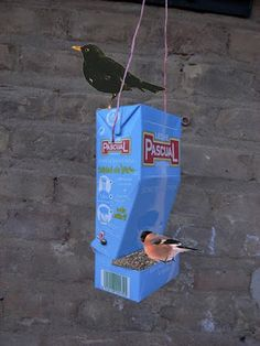 crafts make a milk carton bird feeder kids crafts pinterest. Black Bedroom Furniture Sets. Home Design Ideas
