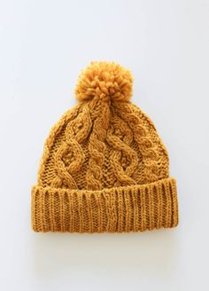 Mustard Knit Pom Hat- A Holiday Must! Via Lily and Violet