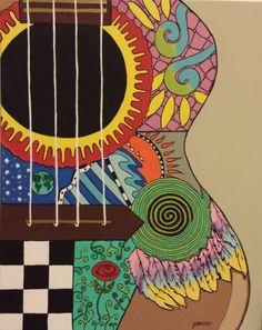 guitar art hand painted acrylic on canvas 16 x 20 by ArtbyJ9, $150.00