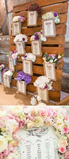 Inject your spring wedding reception with a little creativity by displaying your table plan in an unusual way - like this shabby chic one from Rustic Rentals decorative hire and this eye catching floral one