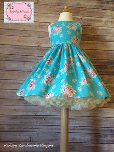 Handmade floral blue Ayda style dress  SLPCO  Lecien fabrics  FairyAnnTeacake designs  Party dress