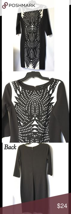 """🆕 Sami & Jo Black & White Printed Shift Dress Lightweight & soft casual dress. Printed flattering Shift dress. Back zipper with hook & eye closure. 95%Polyester/5%Spandex. Material has some stretch. Unlined. Size: M ( Underarm to underarm 18"""", waist 16"""" and approx. 38"""" length) Brans new with tags. Sami & Jo Dresses Midi"""
