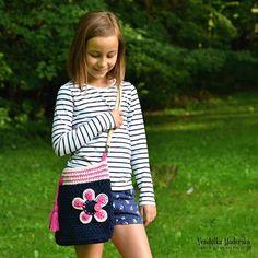 Crochet pattern - Flower bag by VendulkaM - crochet bag pattern, digital, DIY, pdf Front Post Double Crochet, Half Double Crochet, Single Crochet, Bag Crochet, Crochet Purses, Crochet Buttons, Crochet Baskets, Crochet Handbags, Crochet Scarves