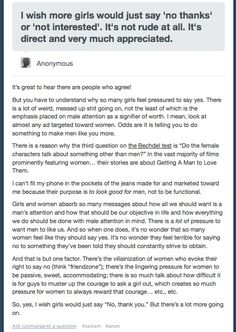 """Why women don't just say """"no thanks"""""""