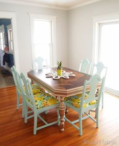 Mint dining chairs, vintage fabric, and gold dining table! {Sawdust and Embryos}
