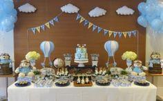 linda decoração para festa de chá de bebê menino