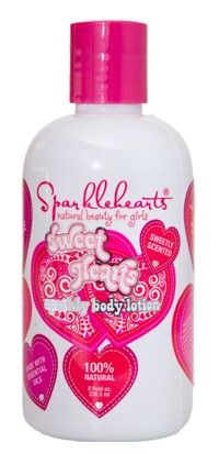 $9.99 Sparkly Body Lotion available at www.Sparklehearts.com. Natural mica sparkles add glamour to your glistening beauty.  Naturally antibacterial, antiviral and anti-inflammatory, sesame oils are pro-healthy and protective.  Moisturizing murumuru butter feeds your skin fabulous nutrients, enhancing your inner glow.  Skin-softening sweet almond oil improves your complexion.