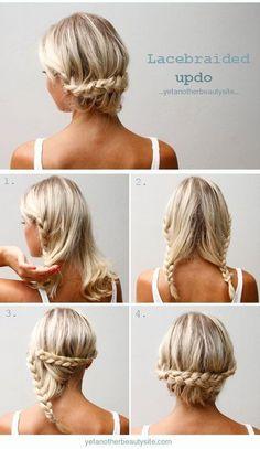 Risos & Risos: 10 Increibles ideas de peinados para cabello corto Diy Hair Updos, Messy Braided Hairstyles, Braided Hairstyles Tutorials, Diy Hairstyles, Hair Tutorials, Easy Hairstyle, Braided Updo, Hairstyle Ideas, Summer Hairstyles