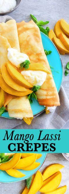 Mango Lassi - love at first sip - Desserts Easy Brunch Recipes, Crepe Recipes, Summer Recipes, Breakfast Recipes, Breakfast Ideas, Breakfast Cooking, Camping Breakfast, Yogurt Breakfast, Breakfast Waffles
