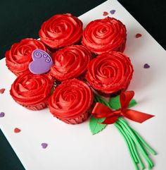 Bouquet of cupcake red buttercream iced roses.