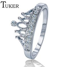 TUKER Exquisite Crown Shaped Ring Rose Gold color Plated CZ Rings for Women Fashion Plated Aneis De Ouro Jewelry