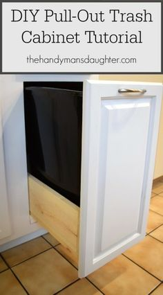 Tired of looking at your dirty garbage can in your kitchen? Hide it in a cabinet! This simple tutorial will show you how to build your own hidden pull-out trash drawer that can be made to fit in any lower cabinet! - thehandymansdaughter.com