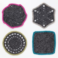 Soft Alpaca Crochet Coasters • Set of 4 • Dark Gray Designed by Stylist, Kelli Ronci. CORDA
