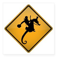 """Seahorse Rodeo Warning Sign Square Sticker 3"""" x 3"""" on CafePress.com"""