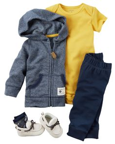 In a soft terry cotton, this striped cardigan and pant set is complete with a bright soft cotton bodysuit.