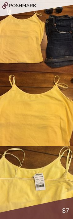 Summer Yellow Double Strap Cami New With Tag ☀️ New with tags - size small - cami is long - measures 20 inches from under arm to hem. Styles for less Tops Camisoles