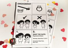 Whimsical Ikea instructions: Save the Date & Wedding Invitation