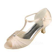 Women's Peep Toe Sandals Low Heel Satin Wedding Shoes