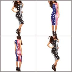 Women USA American Flag Sleeveless Cocktail Clubwear Party Bodycon Bandage Dress