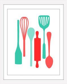 Kitchen Utensils Art set of 3 kitchen prints, kitchen utensil art, colorful kitchen